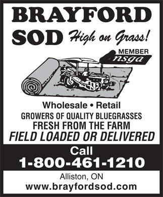 Brayford Sod Farms Inc (705-435-0820) - Display Ad