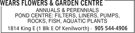 Wear's Flowers & Garden Centre (905-544-4906) - Annonce illustrée - ANNUALS & PERENNIALS POND CENTRE: FILTERS, LINERS, PUMPS, ROCKS, FISH, AQUATIC PLANTS