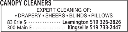 Canopy Cleaners (519-326-2826) - Display Ad - EXPERT CLEANING OF: &sup1; DRAPERY &sup1; SHEERS &sup1; BLINDS &sup1; PILLOWS  EXPERT CLEANING OF: &sup1; DRAPERY &sup1; SHEERS &sup1; BLINDS &sup1; PILLOWS