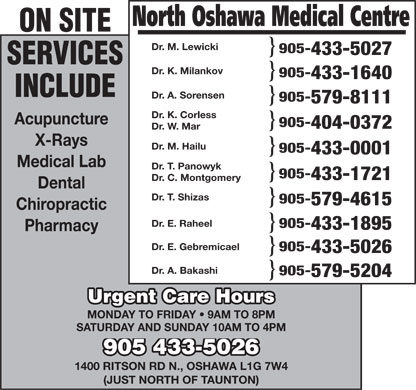 North Oshawa Medical Centre (905-433-5026) - Annonce illustrée