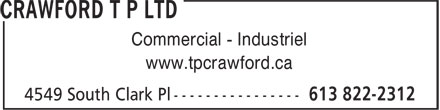 Crawford T P Ltd (613-822-2312) - Display Ad - Commercial - Industriel www.tpcrawford.ca