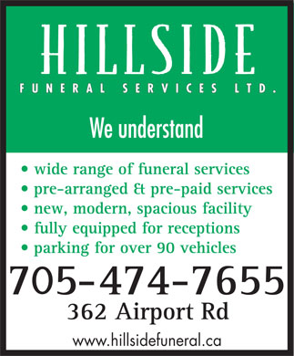 Hillside Funeral Services Ltd (705-474-7655) - Display Ad