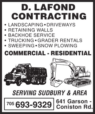 D Lafond Contracting Limited (705-693-9329) - Display Ad