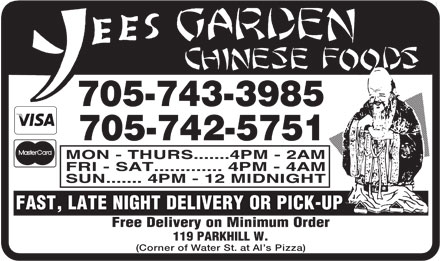 Yees Garden Chinese Foods (705-742-5751) - Display Ad
