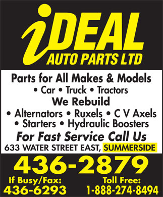 Ideal Auto Parts (902-436-2879) - Display Ad