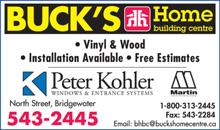 Buck's Home Building Centre (902-543-2445) - Display Ad