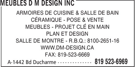 Meubles d m design inc a 1442 boul ducharme la tuque qc for Accent meuble la tuque