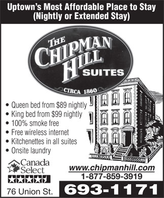 Chipman Hill Suites Limited (506-693-1171) - Annonce illustrée