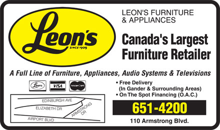Leon's Furniture & Appliances (709-651-4200) - Display Ad