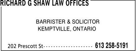 Richard G Shaw Law Offices (613-258-5191) - Annonce illustrée======= - RICHARD G SHAW LAW OFFICES - BARRISTER