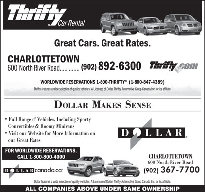 Thrifty Car Rental (902-892-6300) - Display Ad