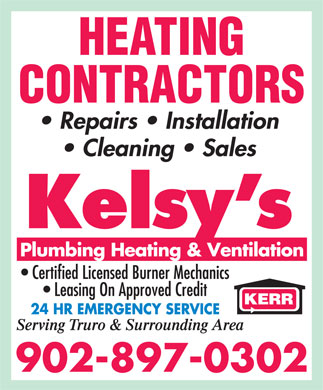Kelsy's Plumbing Heating & Ventilation (902-897-0323) - Display Ad