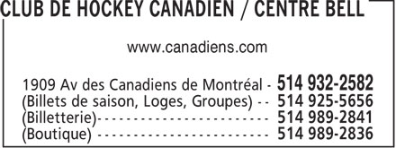 Club de Hockey Canadien / Centre Bell (514-932-2582) - Annonce illustrée - www.canadiens.com  www.canadiens.com
