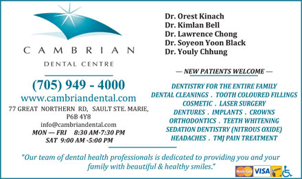 Cambrian Dental Centre (705-949-4000) - Display Ad
