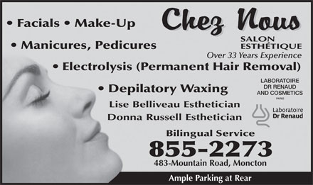 Chez Nous Salon Esthetique (506-855-2273) - Display Ad
