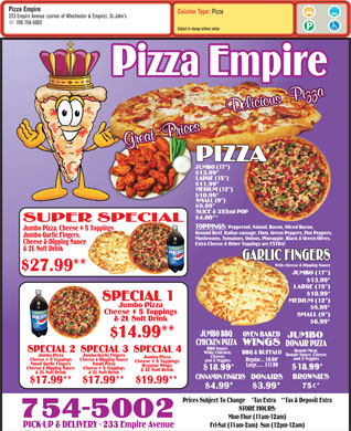 Pizza Empire (709-754-5002) - Menu