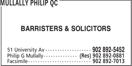 Mullally Philip QCFacsimile (902-892-5452) - Display Ad - BARRISTERS & SOLICITORS
