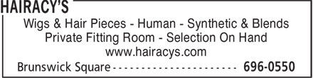 Hairacy's (506-652-7488) - Annonce illustrée - Wigs & Hair Pieces - Human - Synthetic & Blends Private Fitting Room - Selection On Hand www.hairacys.com