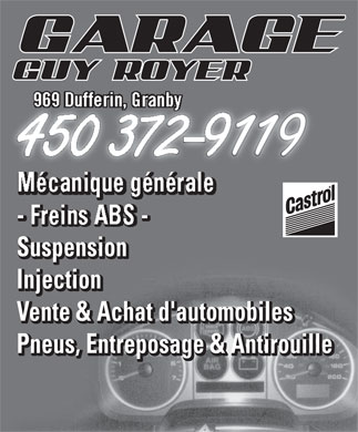 Garage Guy Royer (450-372-9119) - Annonce illustrée - SuspensionSuspension SuspensiononSuspensi Injection Vente & Achat d'automobiles Pneus, Entreposage & Antirouille