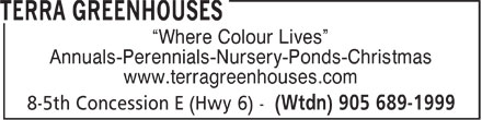 Terra Greenhouses (905-689-1999) - Annonce illustrée - Where Colour Lives Annuals-Perennials-Nursery-Ponds-Christmas www.terragreenhouses.com