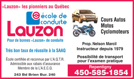 Ecole De Conduite Lauzon (450-585-1854) - Display Ad