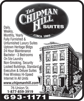 Chipman Hill Suites Limited (506-693-1171) - Annonce illustr&eacute;e