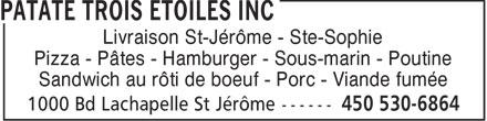 Patate Trois Etoiles (450-530-6864) - Display Ad -