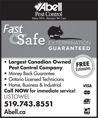 Abell Pest Control (519-743-8551) - Display Ad