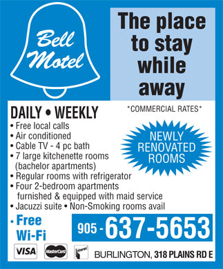Bell Motel (905-637-5653) - Display Ad