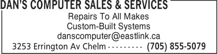 Dan's Computer Sales & Services (705-855-5079) - Display Ad