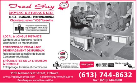 Fred Guy Moving &amp; Storage (613-744-8632) - Annonce illustr&eacute;e
