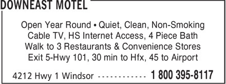 Downeast Motel (1-800-395-8117) - Display Ad