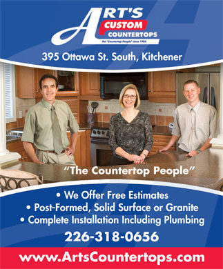 Art's Custom Countertops (519-744-0876) - Annonce illustrée - 395 Ottawa St. South, Kitchener The Countertop People We Offer Free Estimates Post-Formed, Solid Surface or Granite Complete Installation Including Plumbing 226-318-0656 www.ArtsCountertops.com