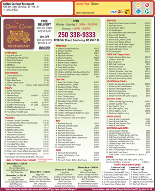 Golden Carriage Restaurant (250-338-9333) - Menu