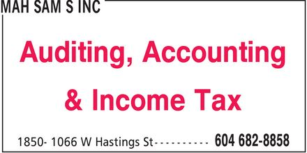 Mah Sam S Inc (604-682-8858) - Annonce illustrée======= - Auditing Accounting & Income Tax
