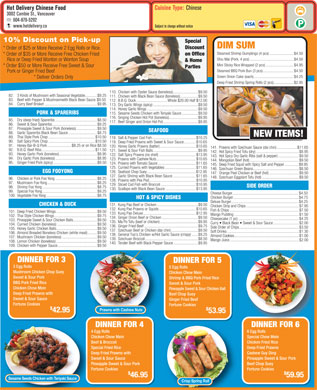 Hot Delivery Chinese Food (604-879-5292) - Menu