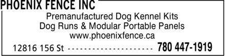 Phoenix Fence Inc (780-447-1919) - Annonce illustrée - www.phoenixfence.ca Dog Runs & Modular Portable Panels Premanufactured Dog Kennel Kits