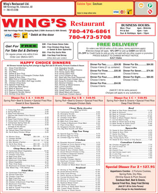 Wing's Restaurant Ltd (780-473-5708) - Menu