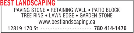 Best Landscaping Depot (780-613-0142) - Annonce illustrée - PAVING STONE   RETAINING WALL   PATIO BLOCK TREE RING   LAWN EDGE   GARDEN STONE www.bestlandscaping.ca