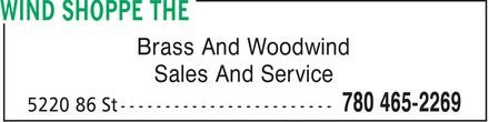 The Wind Shoppe (780-465-2269) - Display Ad - Brass And Woodwind Sales And Service Brass And Woodwind Sales And Service