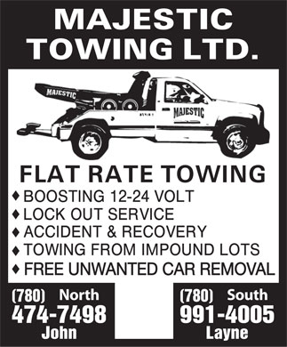 Majestic Towing (2006) Ltd (780-474-7498) - Display Ad
