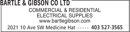Bartle & Gibson Co Ltd (403-527-3565) - Annonce illustrée - COMMERCIAL & RESIDENTIAL ELECTRICAL SUPPLIES www.bartlegibson.com  COMMERCIAL & RESIDENTIAL ELECTRICAL SUPPLIES www.bartlegibson.com