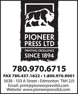 Pioneer Press Ltd (780-436-6015) - Display Ad - FAX 780.437.1622   1.800.970.9001 780.970.6715