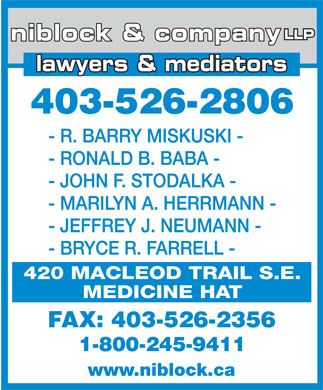 Niblock &amp; Company LLP (403-580-8402) - Annonce illustr&eacute;e - lawyers &amp; mediators 403-526-2806 FAX: 403-526-2356 www.niblock.ca LLP