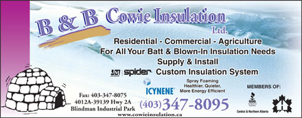 B &amp; B Cowie Insulation Ltd (403-406-0458) - Display Ad