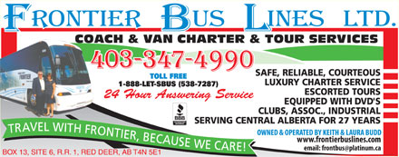 Frontier Bus Lines Ltd (403-347-4990) - Display Ad