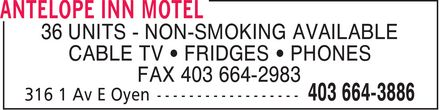 Antelope Inn Motel (403-664-3886) - Display Ad - 36 UNITS - NON-SMOKING AVAILABLE CABLE TV FRIDGES PHONES FAX 403 664-2983