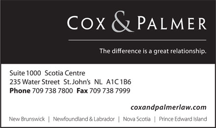 Cox & Palmer (709-738-7800) - Display Ad