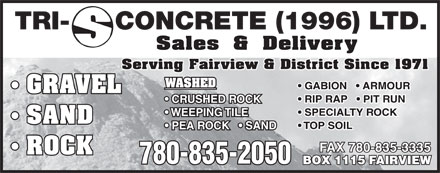 Tri-S Concrete (1996) Ltd (780-835-2050) - Annonce illustrée - TRI- CONCRETE (1996) LTD. Serving Fairview & District Since 1971 FAX 780-835-3335 780-835-2050 TRI- CONCRETE (1996) LTD. Serving Fairview & District Since 1971 FAX 780-835-3335 780-835-2050