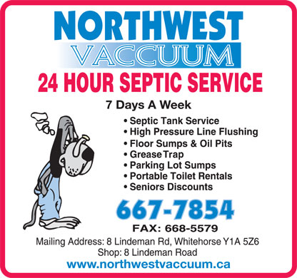 Northwest Vaccuum Service Ltd (867-667-7854) - Display Ad - 7 Days A Week www.northwestvaccuum.ca